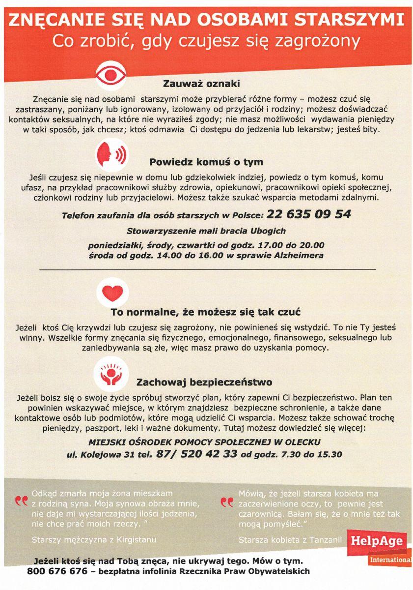 Plakat Znęcanie się nad osobami starszymi informujący co zrobić, gdy czujesz się zagrożony. Telefon zaufania dla osób starszych w Polsce 22 635 09 54