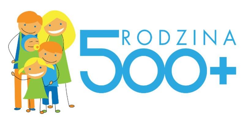 Logo programu 500+ przedstawiające rysunek dwojga rodziców z trójką dzieci oraz napis rodzina 500+